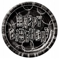 "Black Glitz Happy Birthday 9"" Prism Paper Plates (8)"